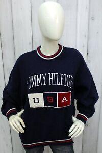 Maglione Tommy Hilfiger Donna Taglia 2XL Blu Cotone Sweater Pullover Woman Logo