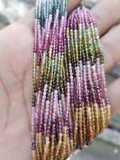 AAA Natural Multi Tourmaline, Faceted Rondelle Beads, 2 MM, 13 Inch Long,
