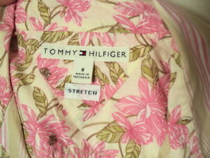 +. tommy hilfiger stripe  floral cotton shirt  stretch pink white beige western