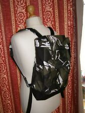 HANDMADE FULLY LINED BACKPACK RUCKSACK BLACK CANVAS & CAMOUFLAGE FABRIC