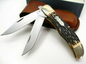 Schrade 227UH Uncle Henry Stag Folding Bowie 2 Blade Knife + Sheath