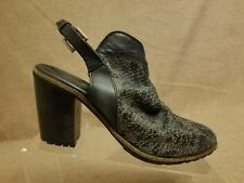 Free People Women Gray Leather Perforated Textured Open Heel Booties Size 40