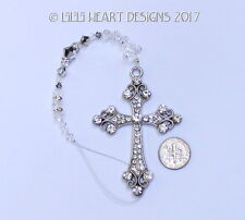 BIG Silver Zirconia Cross m/w Swarovski Suncatcher Car Charm Lilli Heart Designs