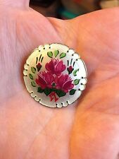 Vintage Guilloche Enamel Sterling Norway 925S Pin Flowers Circle