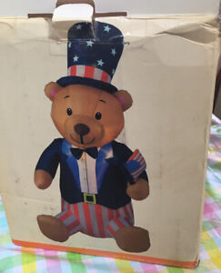 8ft  Patriotic Bear Lighted Airblown 4th of July Stars Stripes Yard inflatable