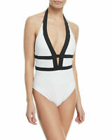 La Blanca Size 14 Modern Muse Plunge Tummy Control Swimsuit White Black NWT $121