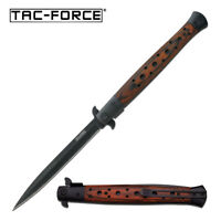 "SPRING-ASSIST FOLDING POCKET KNIFE | Tac-Force 12.5"" Large Wood Black Stiletto"