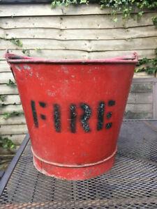 Galvanised Steel Vintage Red Fire Bucket