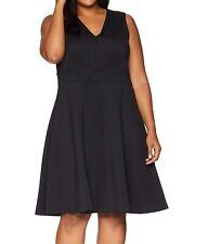 Calvin Klein Women's Dress Deep Black Size 16W Plus A-Line V-Neck $139 #180