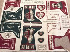Springs Industries Victoriana Christmas Stockings Applique Cut Sew Fabric Panel