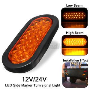 6inch 24 LED Oval Truck Trailer Stop Brake Tail Light Amber Rubber Mount 12V