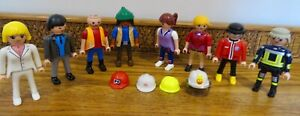 Playmobil Figures x8 bundle. Girls and Boys, Fireman, Suited gent. 1990 onwards