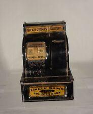 Antique Uncle Sam's Register Bank 3 Coin Cash Register Slot Working