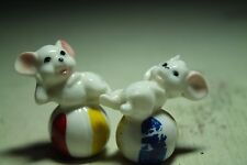 cute little reclining White Mice Mouse vintage porcelain figurines beach ball