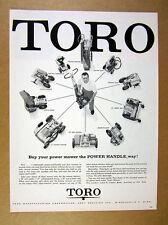 1957 Toro Power Handle lift-off engine mower 10 Attachments vintage print Ad