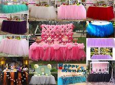USA Stock XMAS Tulle Tutu Table Skirt Wedding Party Baby Shower Decor DIY White