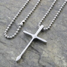 N344 Edelstahl Anhänger Halskette KREUZ Kugelkette Herren Pendant Necklace CROSS