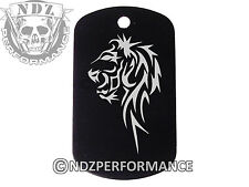 Dog Tag Military ID K9 Customized Laser Engraved BLK Tribal Lion