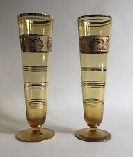Two Vintage 1940s Brown Gold Painted Short Stem Fountain Tall Drinking Glasses
