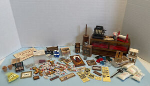 Vintage General Shop Lot Food Display Case Crates Etc Dollhouse Miniature 1:12