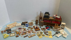Vintage General Shop Lot Food Display Case Crates Etc Dollhouse Miniature 1:12