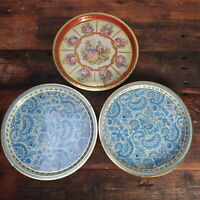 Lot of 3 Vintage Vienna Woods Made in England Round Metal Serving Tray