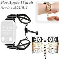 Armband Edelstahl Uhrenarmband X Muster für Apple Watch Series 4/3/21 42/44 mm