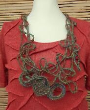 ZUZA BART*DESIGN HAND MADE AMAZING BEAUTIFUL WOOL NECKLACE**MOSS GREEN/BROWN**