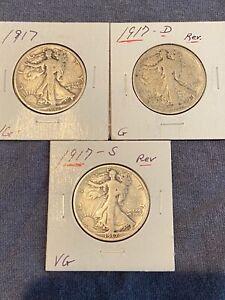 1917 1917 D 1917 S REVERSE WALKING LIBERTY SILVER HALF DOLLAR 3 COINS CIRC G VG