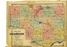 Antique 1870 Map of Columbiana County, Ohio from County Atlas - original 1870