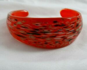 Pier 1 Import Art Glass Bracelet Cuff Red Black White Gold Flecks
