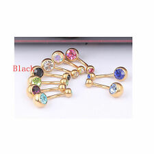 1PC Belly Button Rings Dangle Gold Plated Body Piercings Navel Bars Barbell