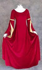 Plus Size Long Sleeve Velvet Dress Red Gold Renaissance Ren Faire Medieval LARP