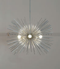 "Mid century 5 Bulbs Chrome Brass Sphere Urchin Chandelier Light Fixture - 30""D"