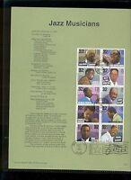 #2983-92 32c Jazz Musicians Stamps USPS #9537 Souvenir Page