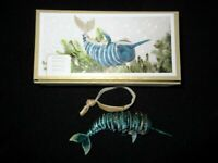 Pier 1 Cloisonne Enameled Swordfish Articulated Hanging Christmas Ornament NIB