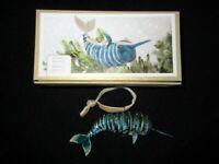 Pier 1 Cloisonne Enameled Swordfish Articulated Hanging Christmas Ornament NIB