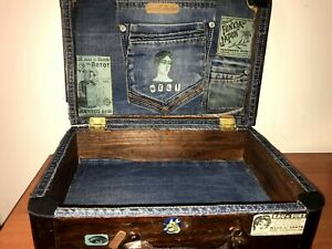 Vintage Old Recycling Suitcase Wooden Trunk Hand Made Decoration
