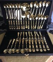 WM Rogers & Sons Gold Plated Flatware Serving Partial Set 48pc.