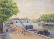 Antique French Watercolor, Paris, The Seine River, Concorde BridgeBoats, Signed
