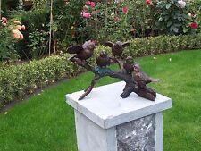 Bronzefigur 5 Spatzen auf Ast Vögel Deko für Heim und Garten aus Bronze