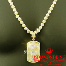 ICED OUT BREATHTAKING WHITE LAB DIAMOND 14K YELLOW GOLD FINISH DOG TAG CHAIN SET