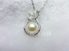 925 Sterling Silver Micro Paved Freshwater Pearl Flower Pendant Necklace Box PE1