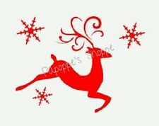 Stencil Christmas Winter Reindeer Snowflakes Whimsical Jumping Deer