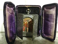Antique 84 Silver Russian Miniature Traveling Icon in Velvet covered Case