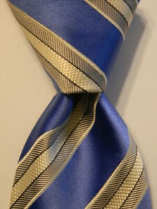 DONALD TRUMP President Signature Collection Silk Necktie STRIPED Blue/Gray GUC