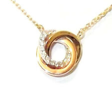 "9CT HALLMARKED YELLOW, ROSE & PAVE SET WHITE GOLD LINKED CIRCLES 18"" NECKLACE"