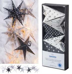 Black & silver hanging paper stars with LED lights handmade in India-20cm NEW