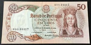 Portugal - 50 Escudos 28.2.1964 P#168 VF/EF Circulated