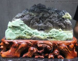 "Chinese Black Green Dushan Jade "" Lofty Mountains Flowing Water "" Old Man Statue"